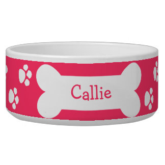 Pink Dog Bowl With Paws and Bone