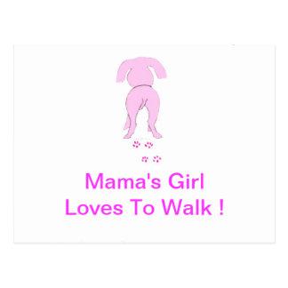 Pink Dog Ears Down Mama's Girl Postcard