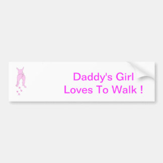Pink Dog Ears Up Daddy's Girl Bumper Sticker