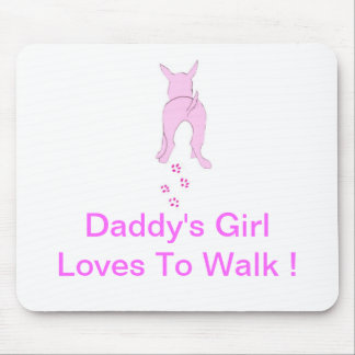 Pink Dog Ears Up Daddy's Girl Mouse Pad
