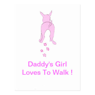 Pink Dog Ears Up Daddy's Girl Postcard