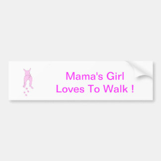 Pink Dog Ears Up Mama's Girl Bumper Sticker