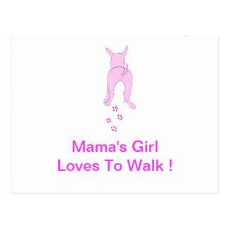 Pink Dog Ears Up Mama's Girl Postcard