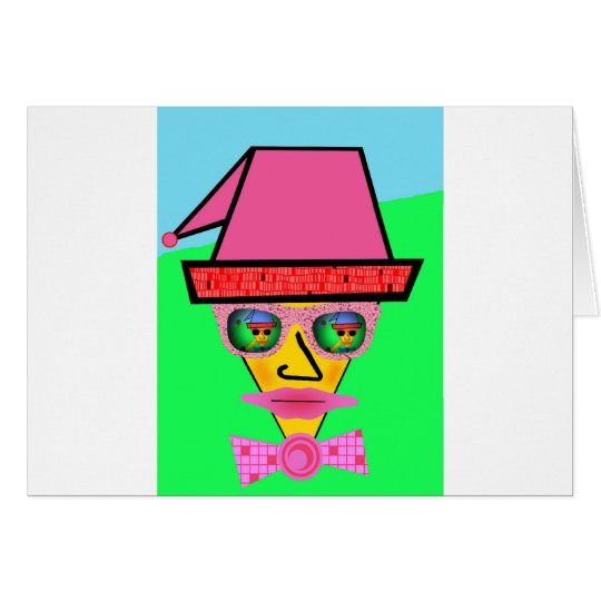 Pink Dog Humanoid Face - Add Your Text Slogan Card