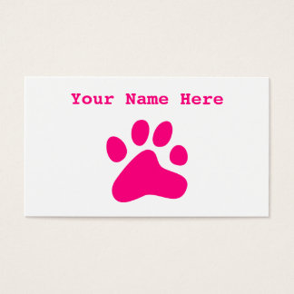 Pink Dog Paw Business Card