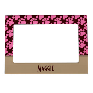 Pink Dog Paw Print Magnetic Picture Frames