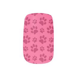 Pink dog paw print minx nail wraps