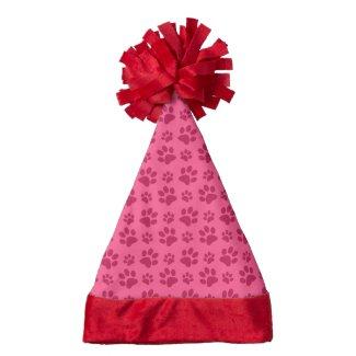 Pink dog paw print santa hat