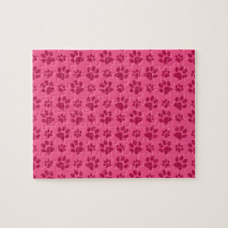 Pink dog paw prints puzzles