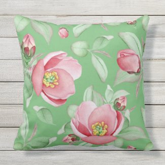 Pink Dog Roses on Mint Green Pillow 20x20