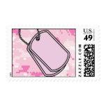Pink Dog Tags on Digi Cam Postage Stamps