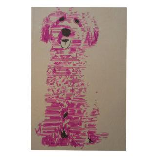 Pink Dog Wood Wall Art