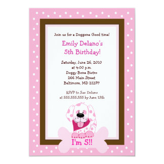 Pink Doggy Bone Puppy Dog Birthday 5x7 Invitation