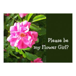 Pink Dogrose Flower Girl Request Card Custom Invites
