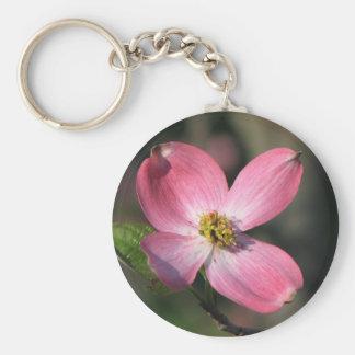 Pink Dogwood Bloom Basic Round Button Keychain