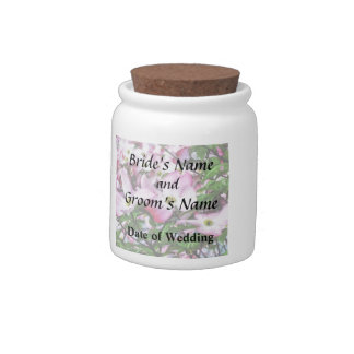 Pink Dogwood Blossoms Wedding Products Candy Jars