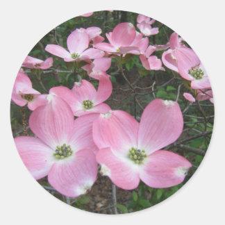 Pink Dogwood Classic Round Sticker