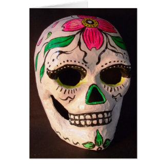 Pink Dogwood Day of the Dead Mask Card