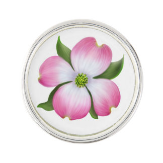 Pink Dogwood Floral Lapel Pin