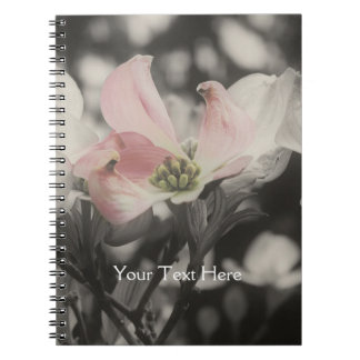 Pink Dogwood Flower In Black And White Notebook