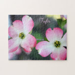 """Pink Dogwood Flower Personalized Gift Puzzle<br><div class=""""desc"""">A lovely pair of pink and white Dogwood blooms personalized with a name or other text. Available in 2 sizes. Fill in the personalize field above or click Customize it for more options in text. Image &#169; Little Wing Photography &amp; Design</div>"""
