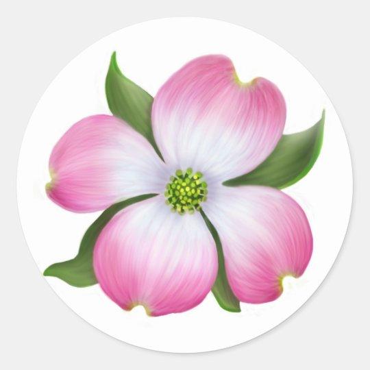 Pink dogwood flower sticker zazzle pink dogwood flower sticker mightylinksfo
