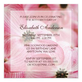 Pink Dogwood Flowers 80th Birthday Party 5.25x5.25 Square Paper Invitation Card