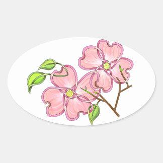 Pink Dogwood Oval Stickers