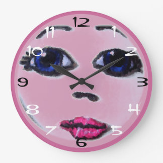 Pink Doll Face Large Clock