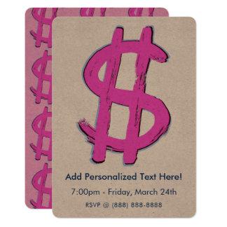 Pink Dollar Sign Card