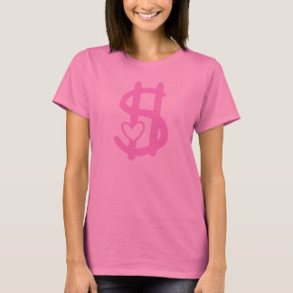 Pink Dollar Sign with Heart T-Shirt