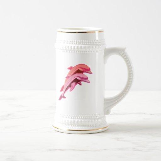 Pink Dolphin Design Beer Stein Coffee Mugs