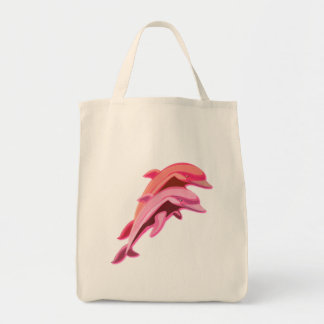 Pink Dolphin Design Grocery Tote