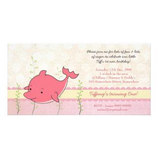 Pink Dolphin Girls 1st Birthday Party Invite