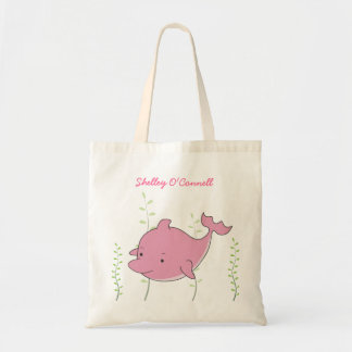 Pink Dolphin Girls School Book Library Canvas Bag
