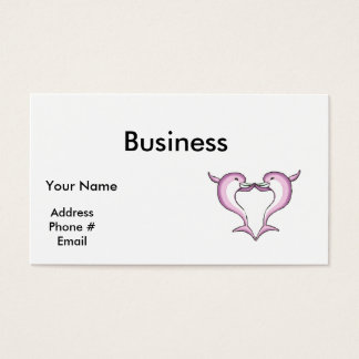 pink dolphin heart business card