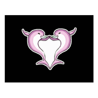 pink dolphin heart postcard
