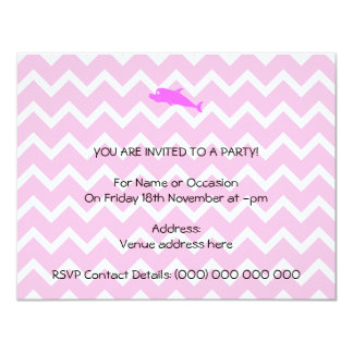 Pink Dolphin. 4.25x5.5 Paper Invitation Card