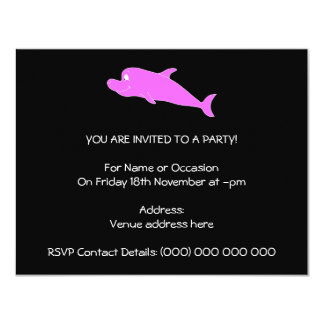 Pink Dolphin on Black. 4.25x5.5 Paper Invitation Card