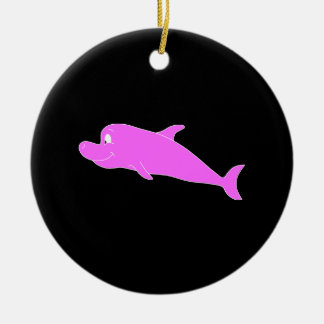 Pink Dolphin on Black. Christmas Ornament