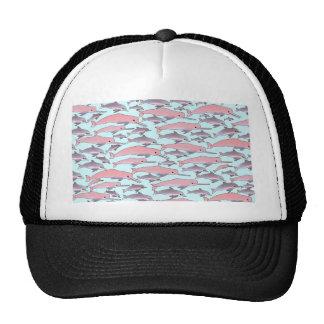 Pink Dolphin Pattern in Blue Trucker Hat