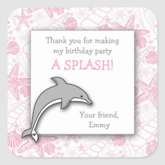 Pink Dolphin Seashells Birthday Party Favor Square Sticker