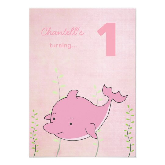 Pink Dolphin Under the Sea Birthday Invite