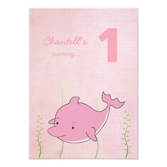 Pink Dolphin Under the Sea Birthday Photo Card