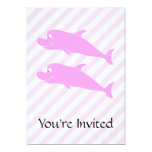 """Pink Dolphins. 5"""" X 7"""" Invitation Card"""