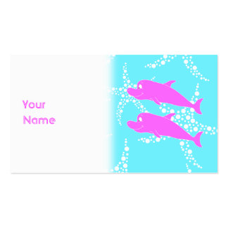 Pink Dolphins. Business Card Templates