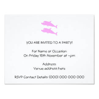 Pink Dolphins. 4.25x5.5 Paper Invitation Card