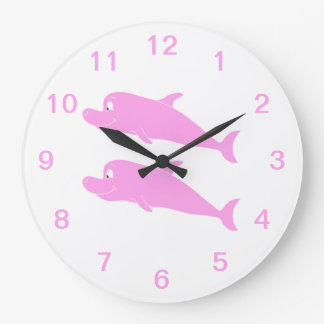 Pink Dolphins. Large Clock
