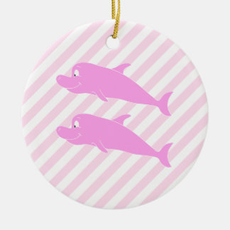 Pink Dolphins. Christmas Tree Ornament