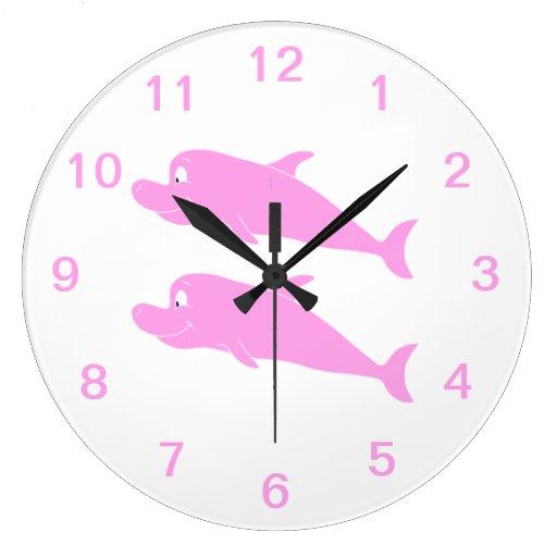 Pink Dolphins. Round Wallclocks